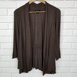 AB Studio 3/4 Long Sleeve Brown Open Cardigan XL